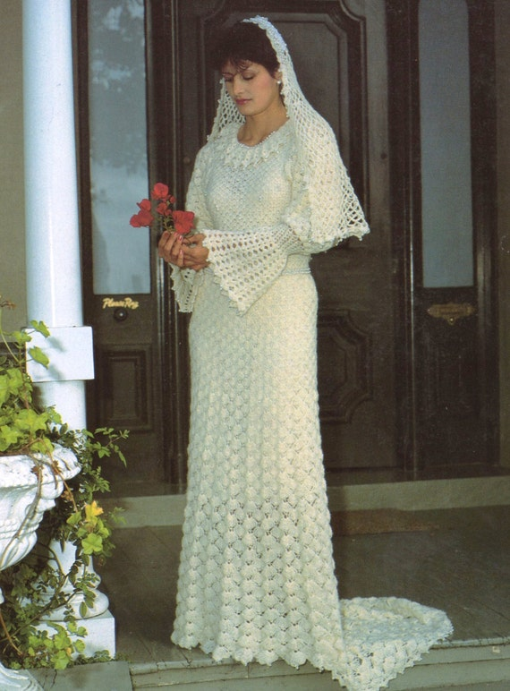 PDF Crochet Pattern / Vintage Women\'s Crochet Wedding Dress ...