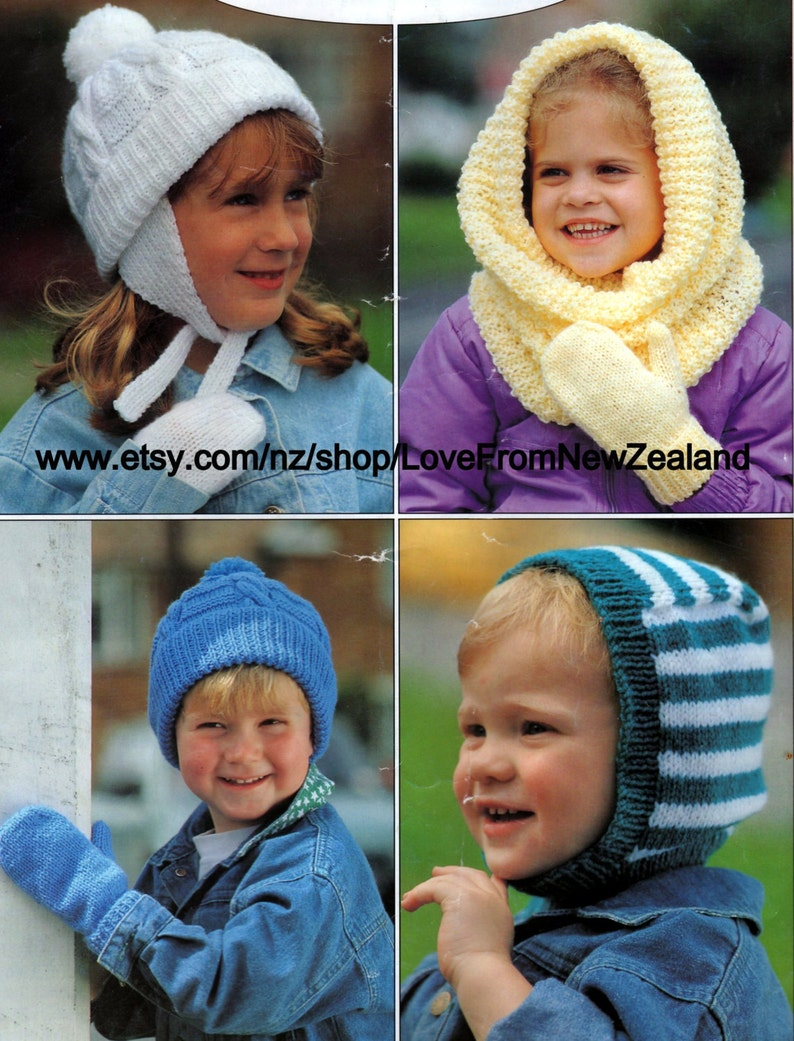 PDFPDF Knitting Pattern / Children's Mitts and Snood / 3 Sizes/Easy Knits  in 8ply yarn / Knitted on two needles/ POST FREE knitting patterns