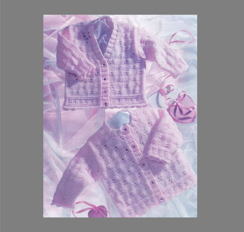 Pdf Baby Knitting Pattern Baby Cardigan 8ply Yarn Multi Etsy