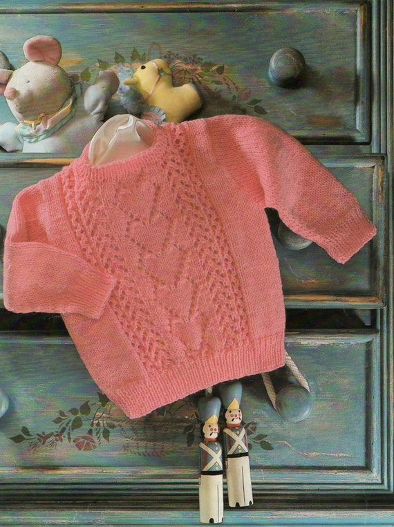 Vintage Baby Knitting Pattern Sweetheart Sweater Baby Girl Etsy