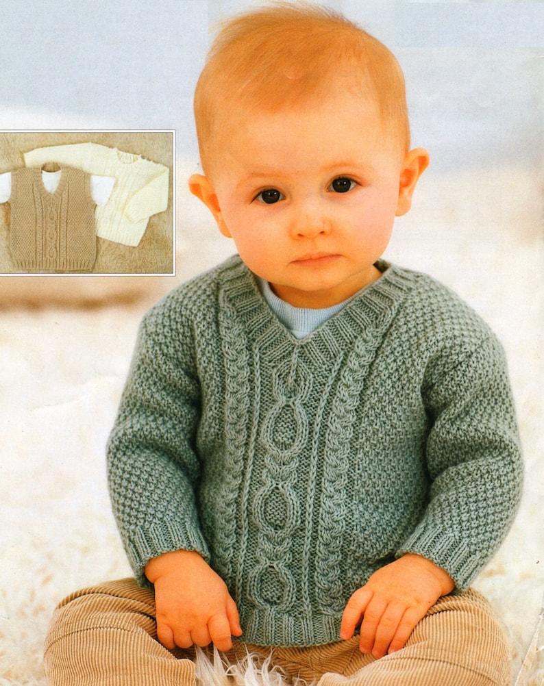 ef9d78e20da00 PDF Knitting Pattern / Vintage Baby Knitting Pattern / Six Sizes /  Sweetheart Aran Sweater / 4 ply yarn / PDF instant download / Post Free