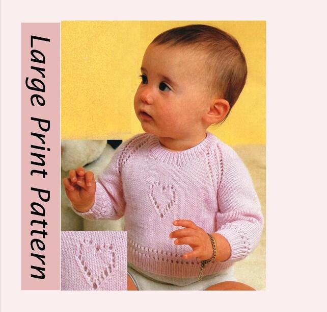 9f5621b11 Large Print PDF Pattern   Vintage Baby Knitting Pattern