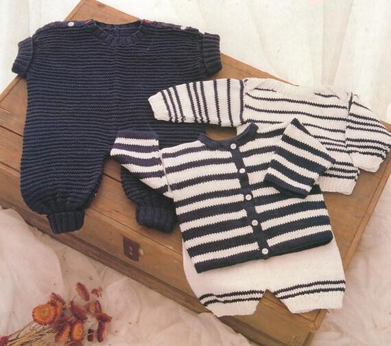 Pdf Baby Knitting Pattern Romper Suit Striped Cadigan Etsy