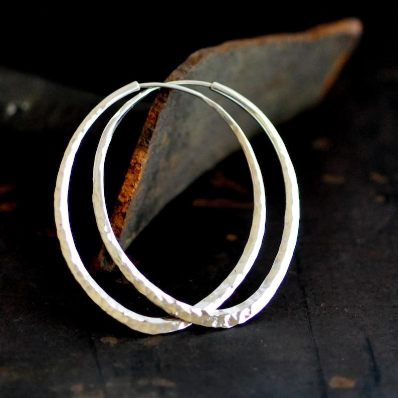 d96ca7e5c Lotus petal sterling silver hoop earring hammered oval hoop | Etsy