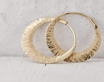 14k gold hoops, continuous loops, recycled yellow, rose or palladium white gold, wide, thick self locking, small, medium and large