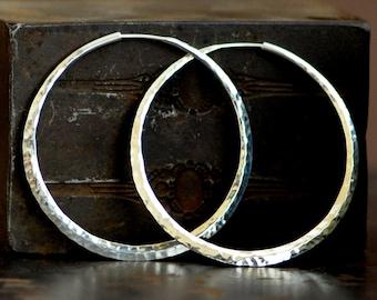 hammered sterling silver hoop earrings, large endless style hoop, 925 silver hoop earring, eco friendly jewelry