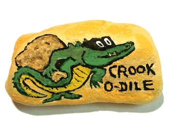Handpainted rock CROOK-O-DILE