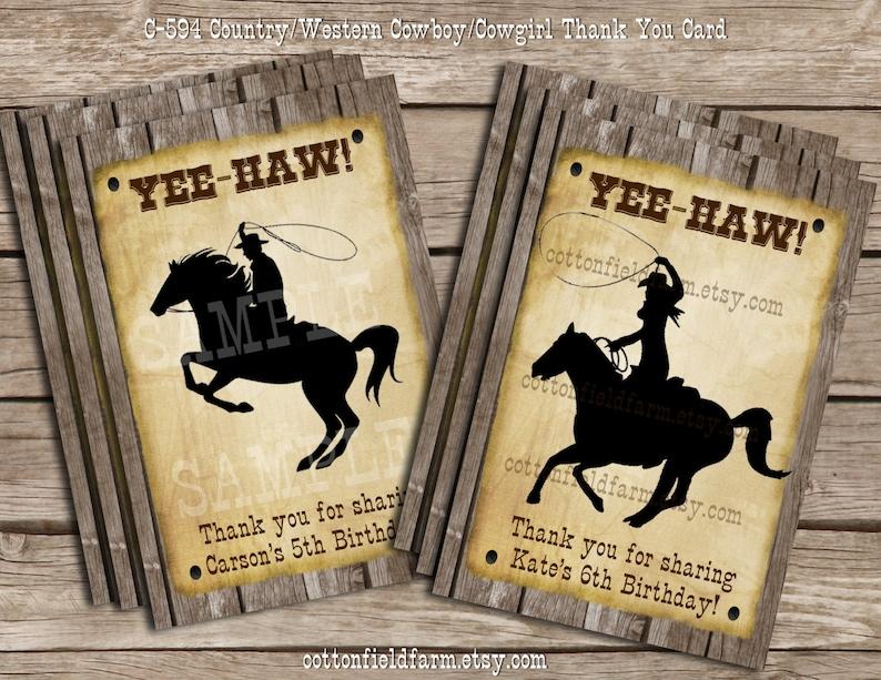Country Western Cowboy Cowgirl Digital Party Invitation Personalized Digital Sheet C-531