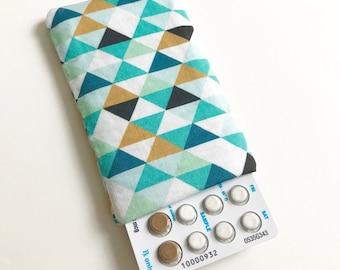 Pill Case Birth Control Sleeve - Mint Triangle