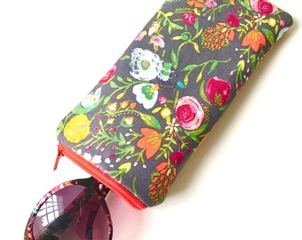 Eyeglass Case Sunglasses Pouch- Grey Floral