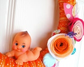 Kewpie Orange Ribbon Wreath