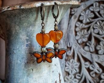Summer butterflies earrings, petite butterfly earrings, hearts and butterflies, rich amber Czech glass