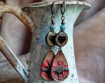 Leather Southwestern style earrings, big and bold, teardrop shape boho dangle earrings, cowgirl summer earrings