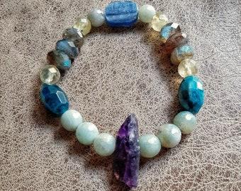 Beaded all gemstone stretch bracelet, 6 different gemstones, beautiful boho bracelet