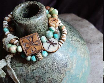 Stretch bracelet stack, beaded bracelets, beautiful stone and bone beads, nature inspired, dragonfly, soft colors