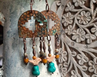 Big and bold Southwestern style earrings, genuine turquoise and vintage clay birds,beautiful boho dangle earrings full of texture and color