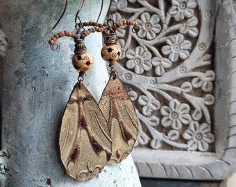 Funky large earrings with  tooled leather, artisan earrings, vintage bone beads, boho earrings, moth wings