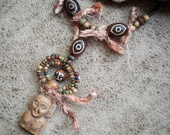 Thai amulet necklace, hand carved figure pendant, beaded artisan jewelry