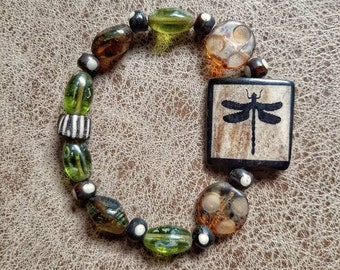 Beaded stretch bracelet, bone and Czech glass beads, dragonfly,nature inspired