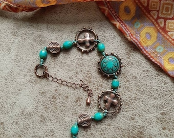 Boho beaded bracelet, hand knotted, turquoise glass and copper