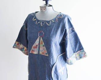 Embroidered 60s / 70s FOLK denim top sz. Small / Medium