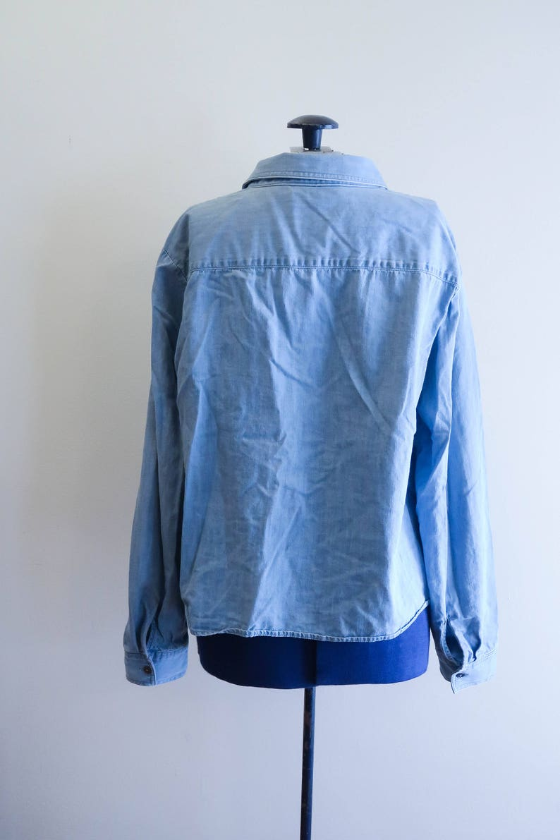 90s tie front denim chambray blouse by Jones New York