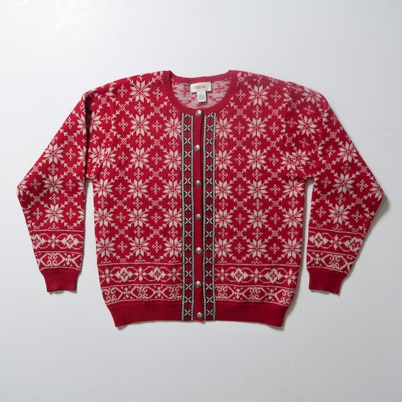 bird themed beige sweater size XL holiday sweater fallwinter patterned jumper Vintage Talbots Winter cardigan sweater