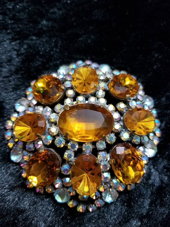 Vintage Amber, Gold and Aurora Pin or Brooch