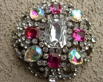 Vintage Pin or Brooch---Clear, Pink and Aurora Crystals--signed