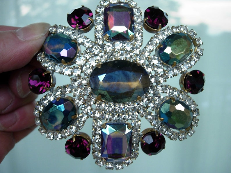 Signed Vintage Pin or Brooch Purple and Blues Aurora Borealis Crystal