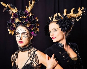CUSTOM DOWN PAYMENT Antler Flower Crown // Festival //Burning Man Headpiece by Sumeria Sierra