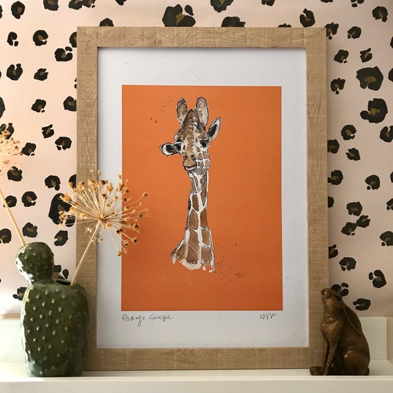 Orange Giraffe - Jango from the Yorkshire Wildlife Park - available in A5, A4, A3