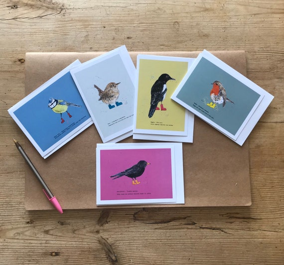Garden birds in wellies note cards  - pack of 5 blank cards for your messages