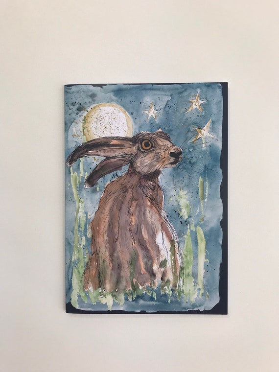 Arty Note Book - Luna Moon Hare starry night - plain