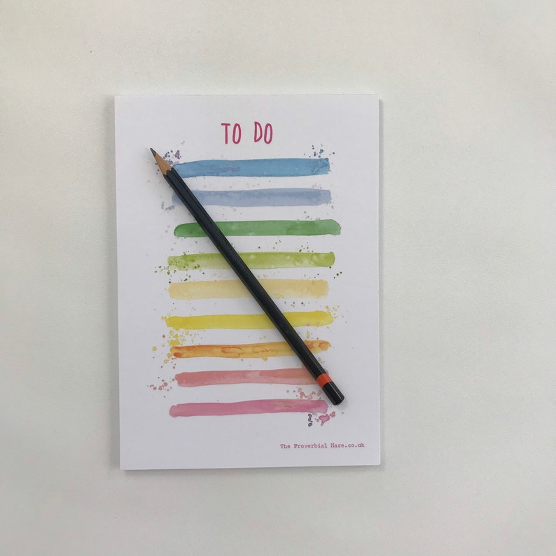 A5 Notepad Messy Rainbow Stripes from an original watercolour