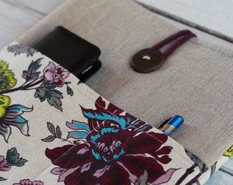 Laptop sleeve Case Cover for 13 inch/ pockets/ linen