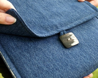 Handbag/ ipad case with three pockets/ denim