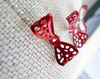 Red Kite Tail Necklace - Painted Vintage Metal