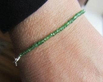 Emerald Bracelet, Green Emerald, Sterling Silver Bracelet, REAL Emeralds, Beach, Boho, May Birthstone, May Birthday, May wedding