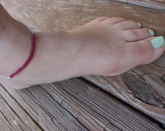 Ruby Anklet, Ruby Ankle Bracelet, Beachy Anklet, July Birthday, July 4th, July Birthstone Ankelt, Sterling Silver Anklet, Holiday Gift