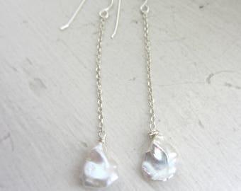 White Keshi Pearl Earrings, Bridal Earrings, Wedding, White Earrings, Pearl Earrings, June Birthday, Silver Threader Earrings