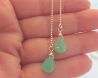 Chrysoprase Earrings, Green Chrysoprase Earrings,  Threader Earrings,Sterling Silver Threaders,  Gemini Birthday, Gemstone Threaders