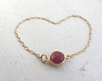 Ruby Bracelet, Ruby Gold bracelet, Valentine's jewelry, Valentine gift, Christmas gift, Ruby gemstone,Cancer birthstone, July Birhtstone
