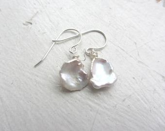 Keshi Pearl Earrings, Sterling silver pearl earrings, bridal earrings, white earrings, wedding day earrings