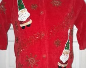 Vintage Christopher Radko Bellepointe Christmas Santa Ornament Cardigan Sweater Vest Red