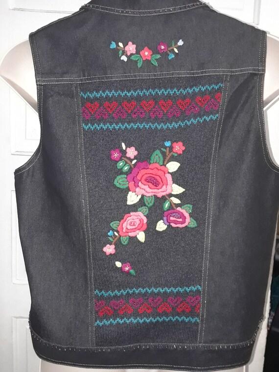 Black Embroidered Vest Alfred Dunner Size 16P