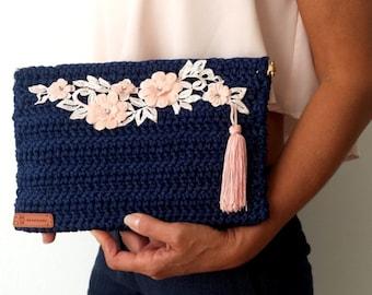 Blue CROCHET BAG with PINK Floral Embellishment / Tasseled Squeeze Frame Envelope Bag / Flex Frame Closure /Ready to Ship
