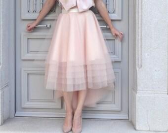 Robe de Mariée /tulle SKIRT High-Low Assymetrical / DustyRose Nude Blush/ Custom with Satin Lining Bridal Separates