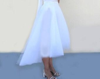 White TULLE WEDDING SKIRT/Bridal Separates/ Asymmetrical High-Low Hem/ Robe de mariée/Personalized/ Custom/Made to Order Womens Dresses