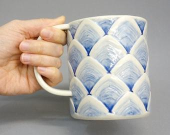 Ombre Blue Scallop Mug - Handmade Porcelain 18 oz Mug with Scalloped Textured Surface, Handbuilt Coffee Mug